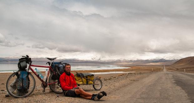 Peder af Geijerstam taking a morning rest by Lake Karakul, Tajikistan